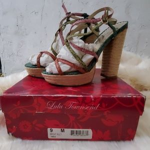 Lulu Townsend multi colored snake print sandals
